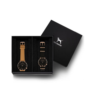 Custom gift set - Rose gold and black watch with stitched camel genuine leather band and a rose gold and black watch with black nato leather band