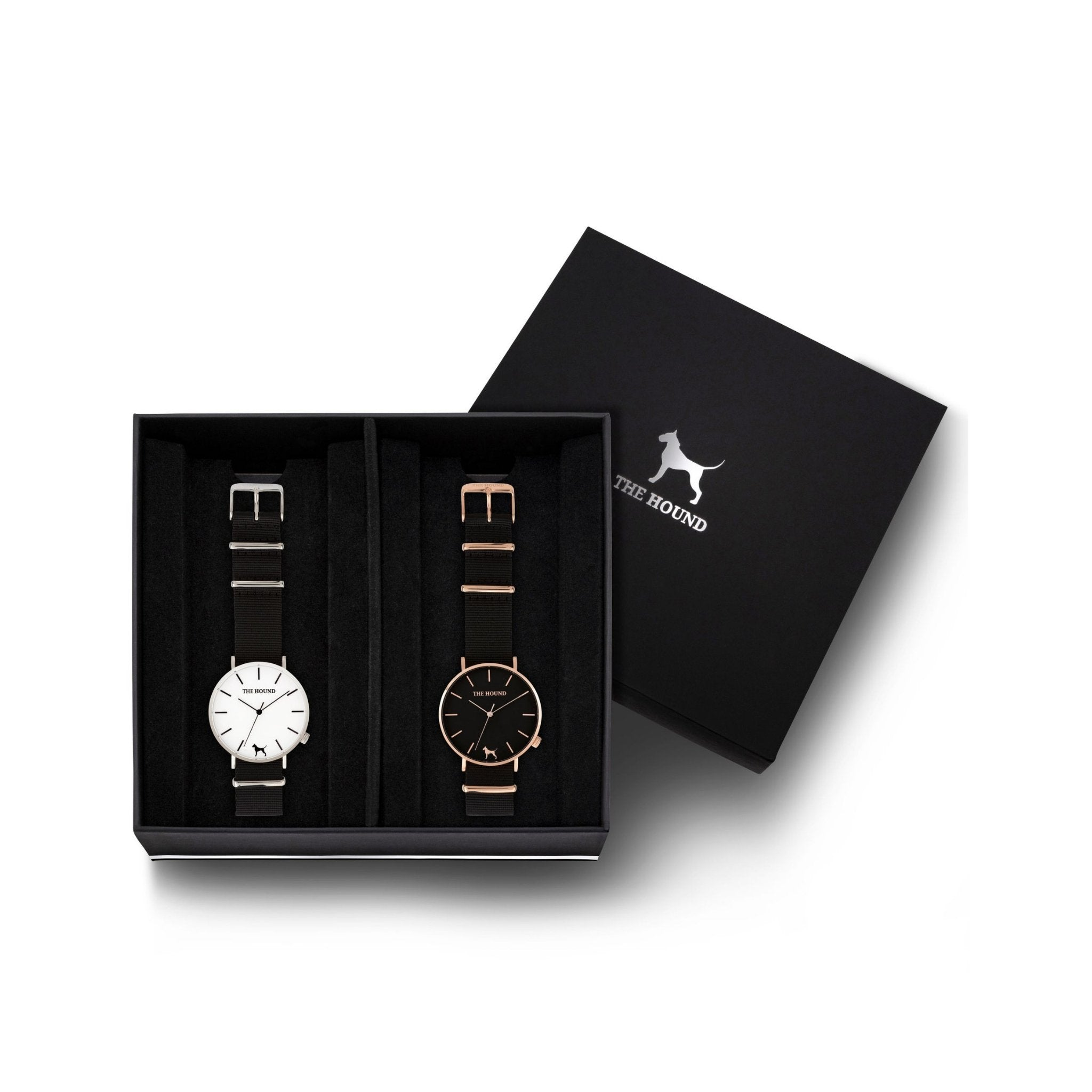 Custom gift set - Silver and white watch with black nato band and a rose gold and black watch with black nato leather band
