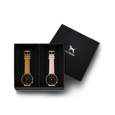 Custom gift set - Rose gold and black watch with stitched camel genuine leather band and a rose gold and black watch with stitched blush pink genuine leather band