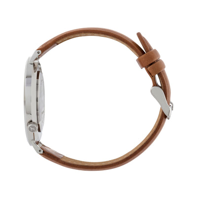 Silver & White Watch<br>+ Tan Leather Band<br>+ Camel Leather Band