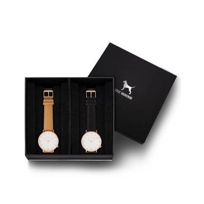 Custom gift set - Rose gold and white watch with stitched camel genuine leather band and a rose gold and white watch with stitched black genuine leather band