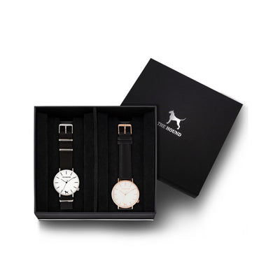 Custom gift set - Silver and white watch with black nato band and a rose gold and white watch with stitched black genuine leather band