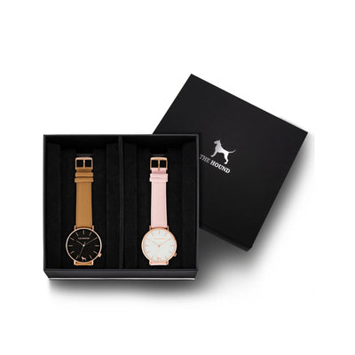 Custom gift set - Rose gold and black watch with stitched camel genuine leather band and a rose gold and white watch with stitched blush pink genuine leather band