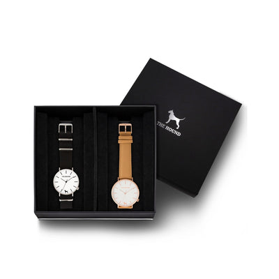 Custom gift set - Silver and white watch with black nato band and a rose gold and white watch with stitched camel genuine leather band