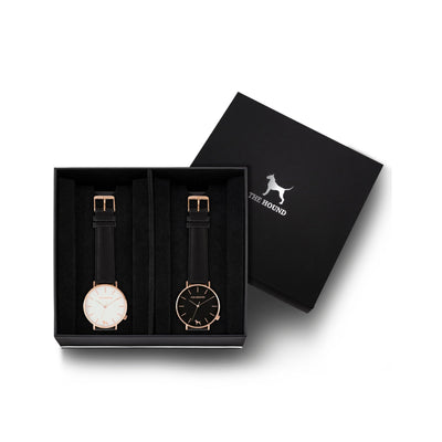 Custom gift set - Rose gold and white watch with stitched black genuine leather band and a rose gold and black watch with stitched black genuine leather band