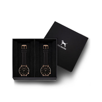 Custom gift set - Rose gold and black watch with stitched black genuine leather band and a rose gold and black watch with stitched black genuine leather band