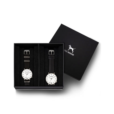 Custom gift set - Silver and white watch with black nato band and a silver and white watch with stitched black genuine leather band