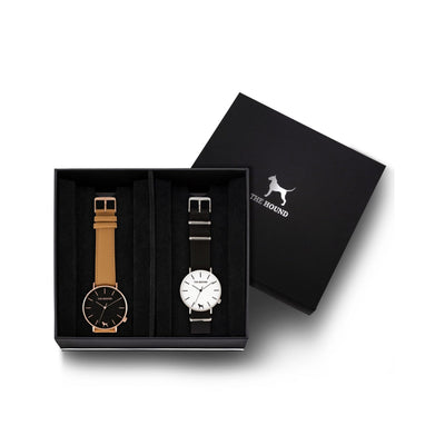 Custom gift set - Rose gold and black watch with stitched camel genuine leather band and a silver and white watch with black nato leather band