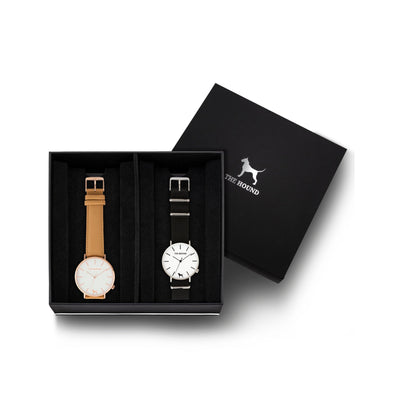 Custom gift set - Rose gold and white watch with stitched camel genuine leather band and a silver and white watch with black nato leather band