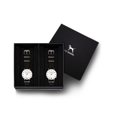 Custom gift set - Silver and white watch with black nato band and a silver and white watch with black nato leather band