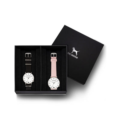 Custom gift set - Silver and white watch with black nato band and a silver and white watch with stitched blush pink genuine leather band