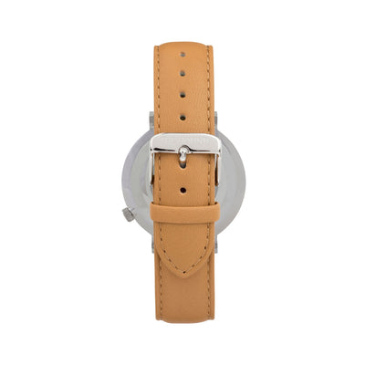 Silver & White Watch<br>+ Camel Leather Band<br>+ Camel Leather Band