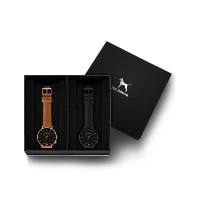 Custom gift set - Rose gold and black watch with stitched tan genuine leather band and a matte black and black watch with stitched black genuine leather band