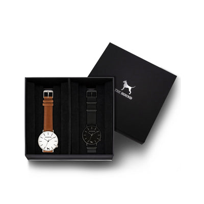 Custom gift set - Silver and white watch with stitched tan genuine leather band and a matte black and black watch with black nato leather band