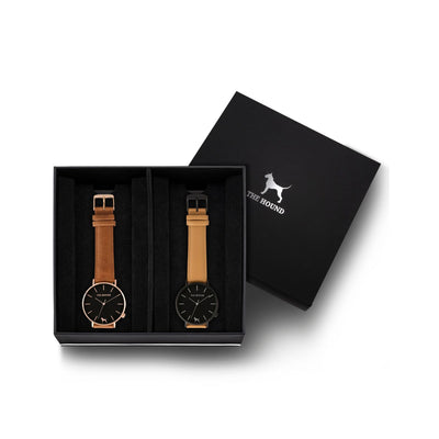 Custom gift set - Rose gold and black watch with stitched tan genuine leather band and a matte black and black watch with stitched camel genuine leather band