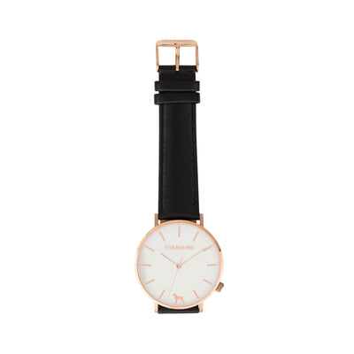 White Rose Watch<br>+ Black Leather Band<br>+ Black Leather Band