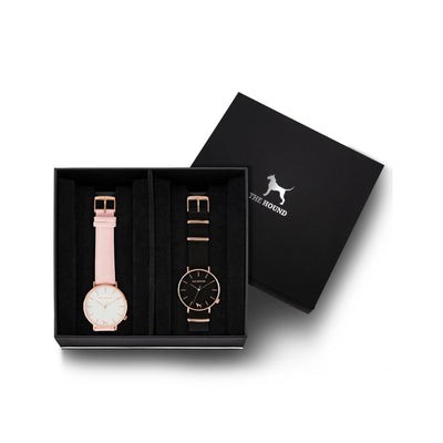 Custom gift set - Rose gold and white watch with stitched blush pink genuine leather band and a rose gold and black watch with black nato leather band