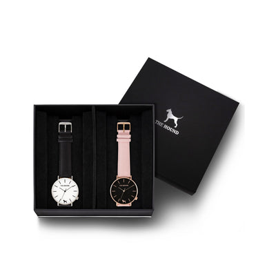 Custom gift set - Silver and white watch with stitched black genuine leather band and a rose gold and black watch with stitched blush pink genuine leather band