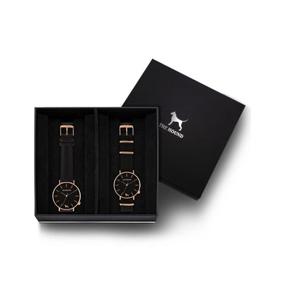 Custom gift set - Rose gold and black watch with stitched black genuine leather band and a rose gold and black watch with black nato leather band
