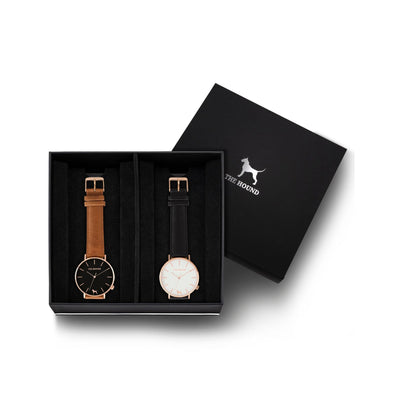 Custom gift set - Rose gold and black watch with stitched tan genuine leather band and a rose gold and white watch with stitched black genuine leather band