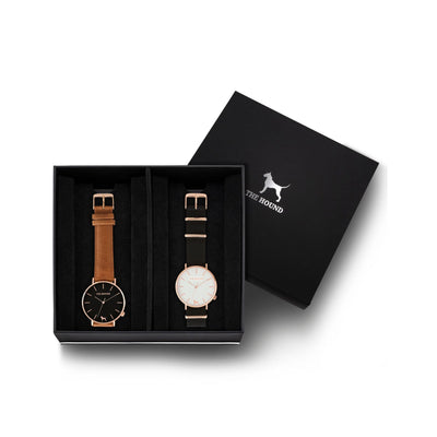 Custom gift set - Rose gold and black watch with stitched tan genuine leather band and a rose gold and white watch with black nato leather band