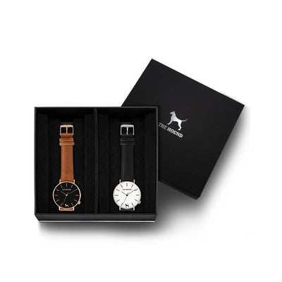 Custom gift set - Rose gold and black watch with stitched tan genuine leather band and a silver and white watch with stitched black genuine leather band