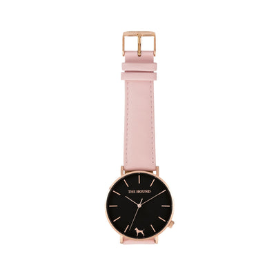 Rose gold and black watch with a stitched blush pink genuine leather band and rose gold black buckle designed by THE HOUND, styled flat and shot from above.