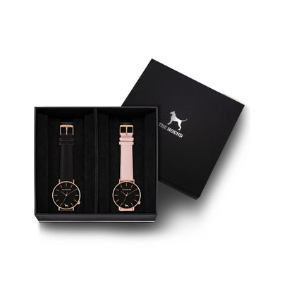 Custom gift set - Rose gold and black watch with stitched black genuine leather band and a rose gold and black watch with stitched blush pink genuine leather band