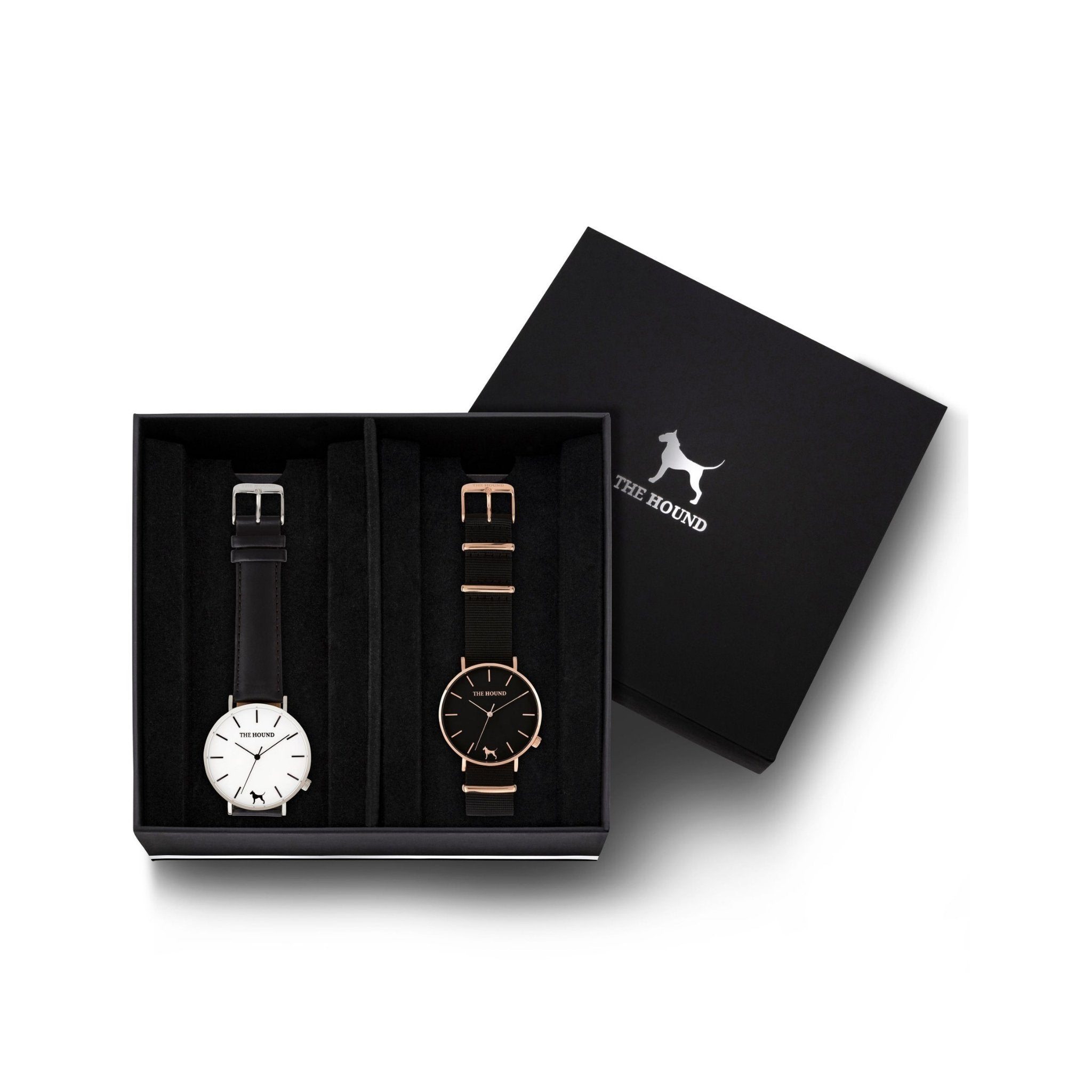 Custom gift set - Silver and white watch with stitched black genuine leather band and a rose gold and black watch with black nato leather band