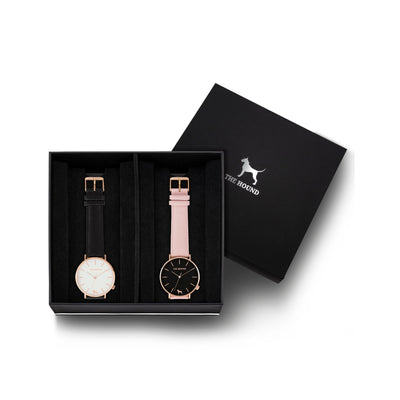 Custom gift set - Rose gold and white watch with stitched black genuine leather band and a rose gold and black watch with stitched blush pink genuine leather band