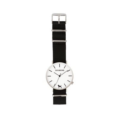 Silver & White Watch<br>+ Black Nato Band<br>+ Tan Leather Band