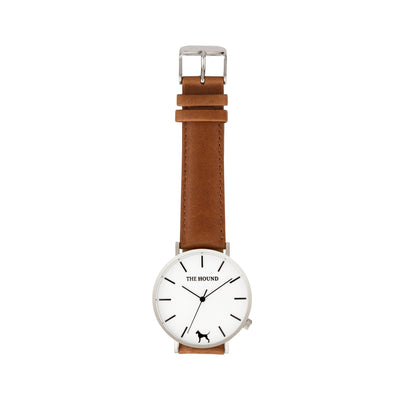 Silver & White Watch<br>+ Blush Pink Leather Band<br>+ Tan Leather Band