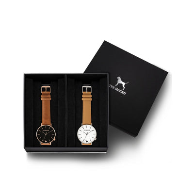 Custom gift set - Rose gold and black watch with stitched tan genuine leather band and a silver and white watch with stitched camel genuine leather band