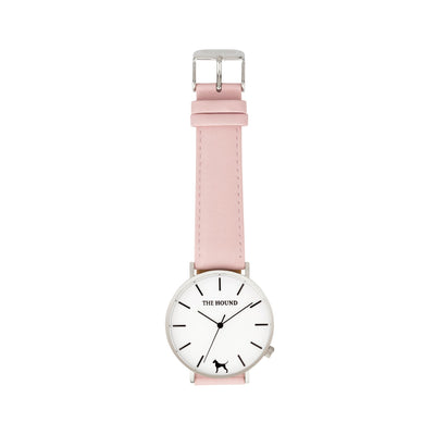 Silver & White Watch<br>+ Tan Leather Band<br>+ Blush Pink Leather Band