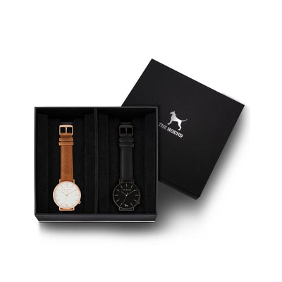 Custom gift set - Rose gold and white watch with stitched tan genuine leather band and a matte black and black watch with stitched black genuine leather band