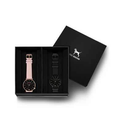 Custom gift set - Rose gold and black watch with stitched blush pink genuine leather band and a matte black and black watch with black nato leather band