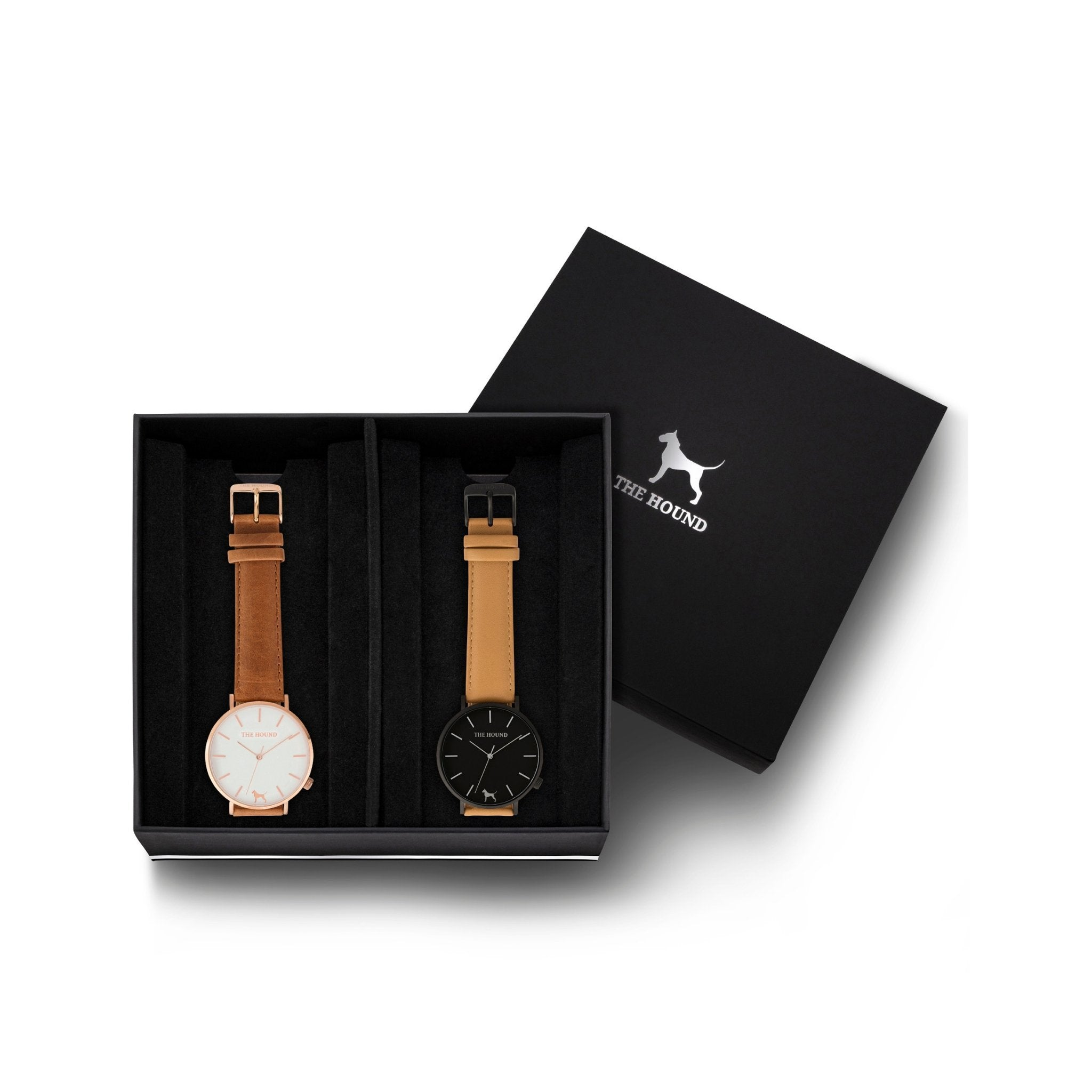 Custom gift set - Rose gold and white watch with stitched tan genuine leather band and a matte black and black watch with stitched camel genuine leather band