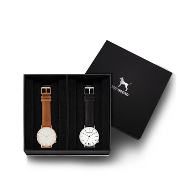 Custom gift set - Rose gold and white watch with stitched tan genuine leather band and a silver and white watch with stitched black genuine leather band