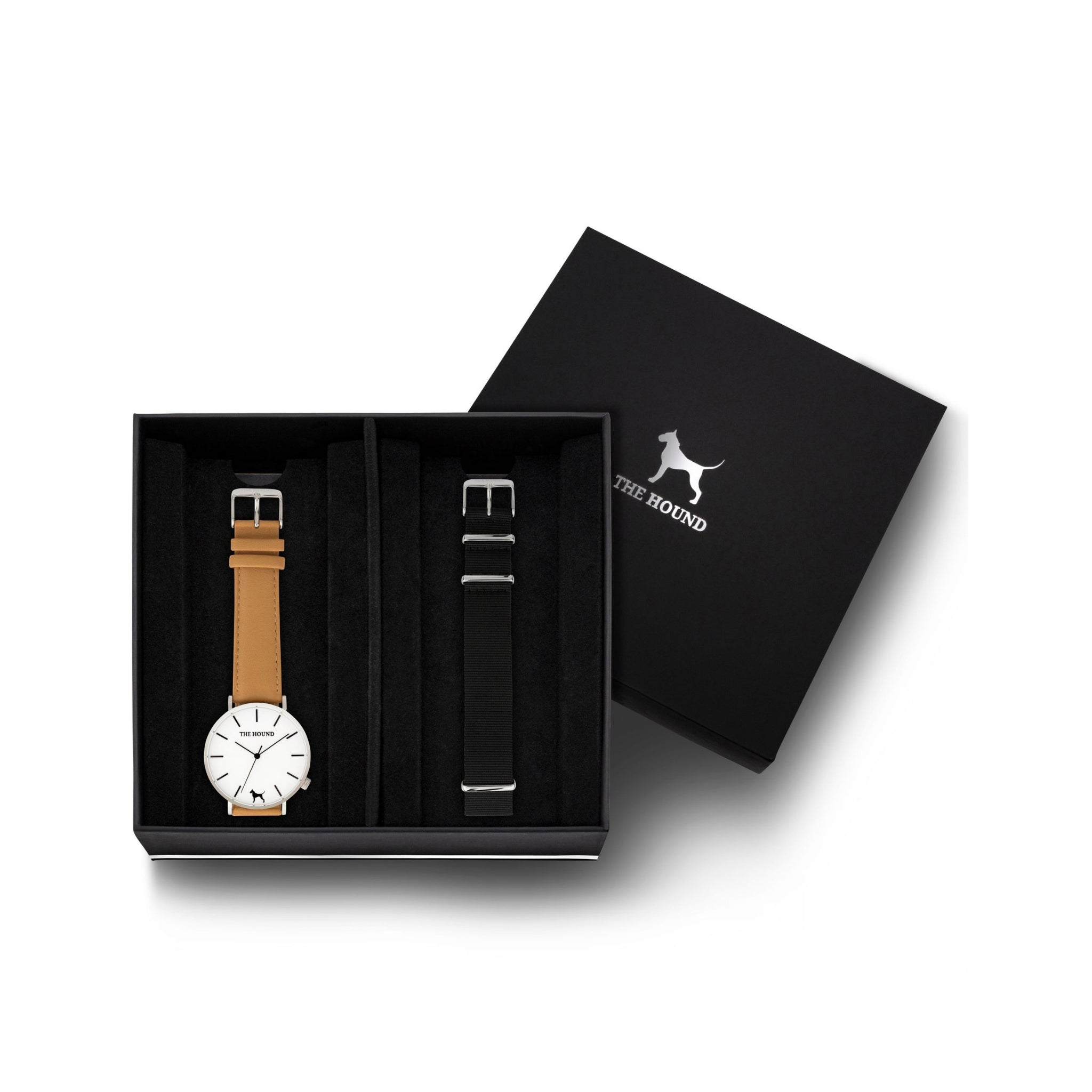Silver & White Watch<br>+ Camel Leather Band<br>+ Black Nato Band