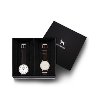 Custom gift set - Silver and white watch with stitched black genuine leather band and a rose gold and white watch with black nato leather band