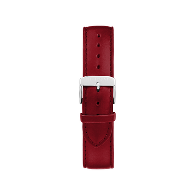 Silver & Limited Edition Red Stitched Leather Watch Band Component