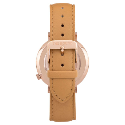 Gift Set - White Rose Watch with Camel Leather Band