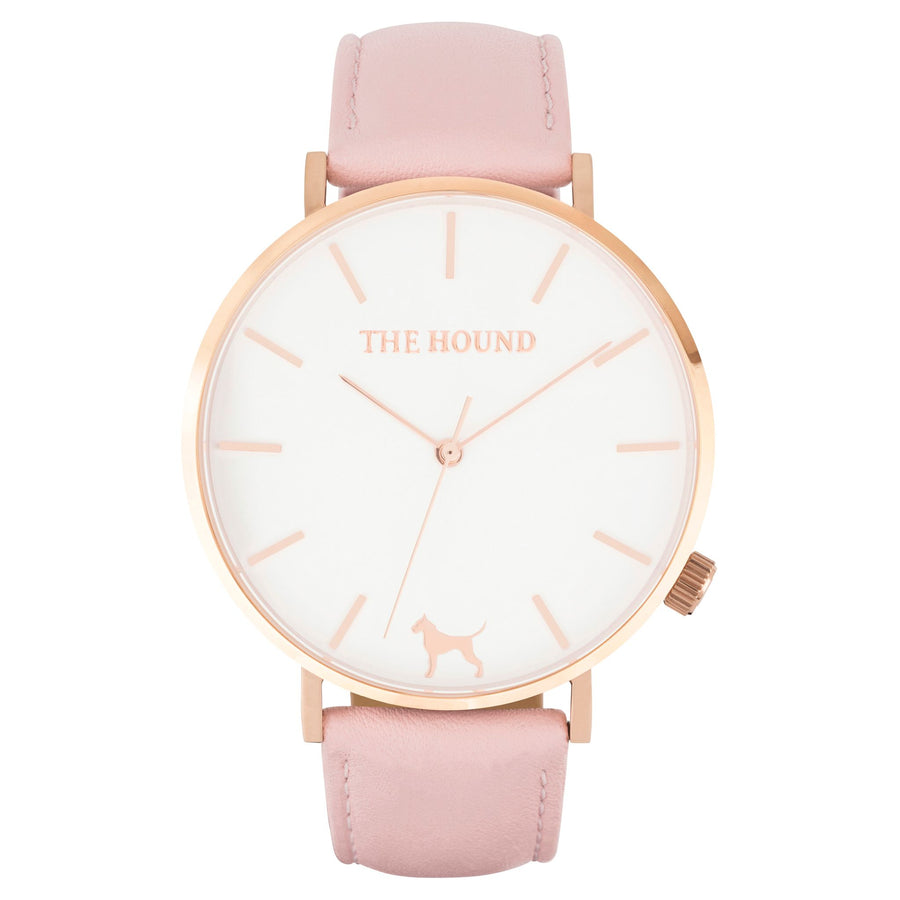 Gift Set - White Rose Watch with Blush Pink Leather Band
