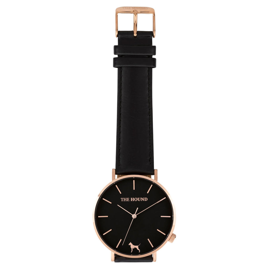Extra Watch - Black Rose & Black Leather