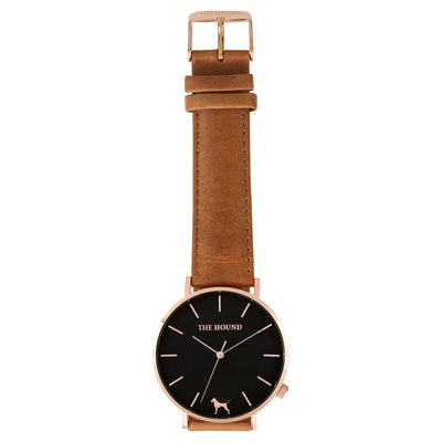 Gift Set - Black Rose Watch with Tan Leather Band