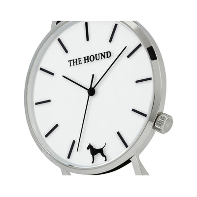Silver & White Watch<br>+ Black Leather Band<br>+ Black Nato Band