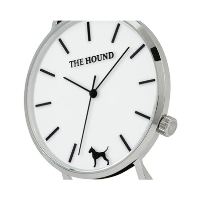 Silver and white watch face and crown designed by THE HOUND.