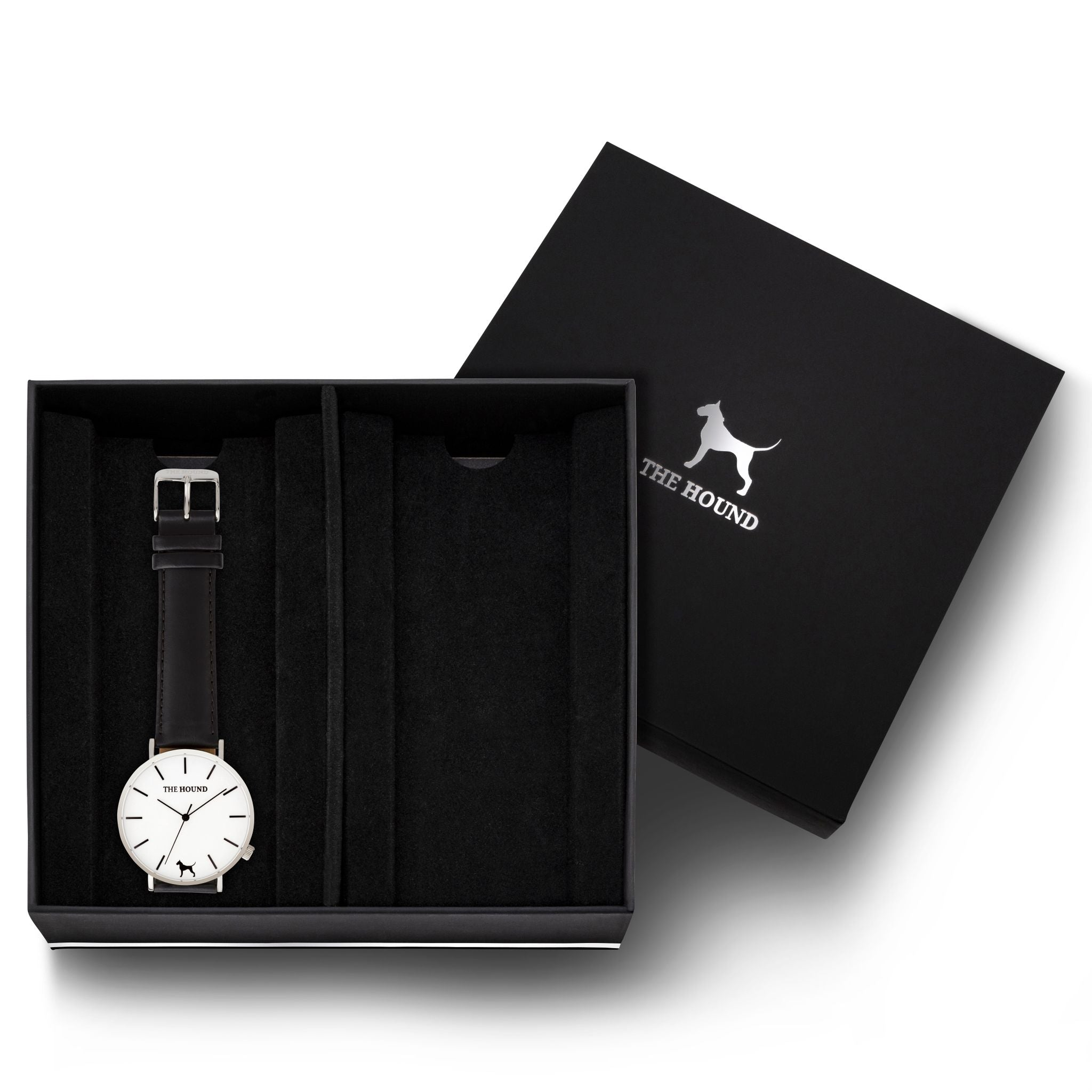 Gift Set - Silver Watch with Black Leather Band
