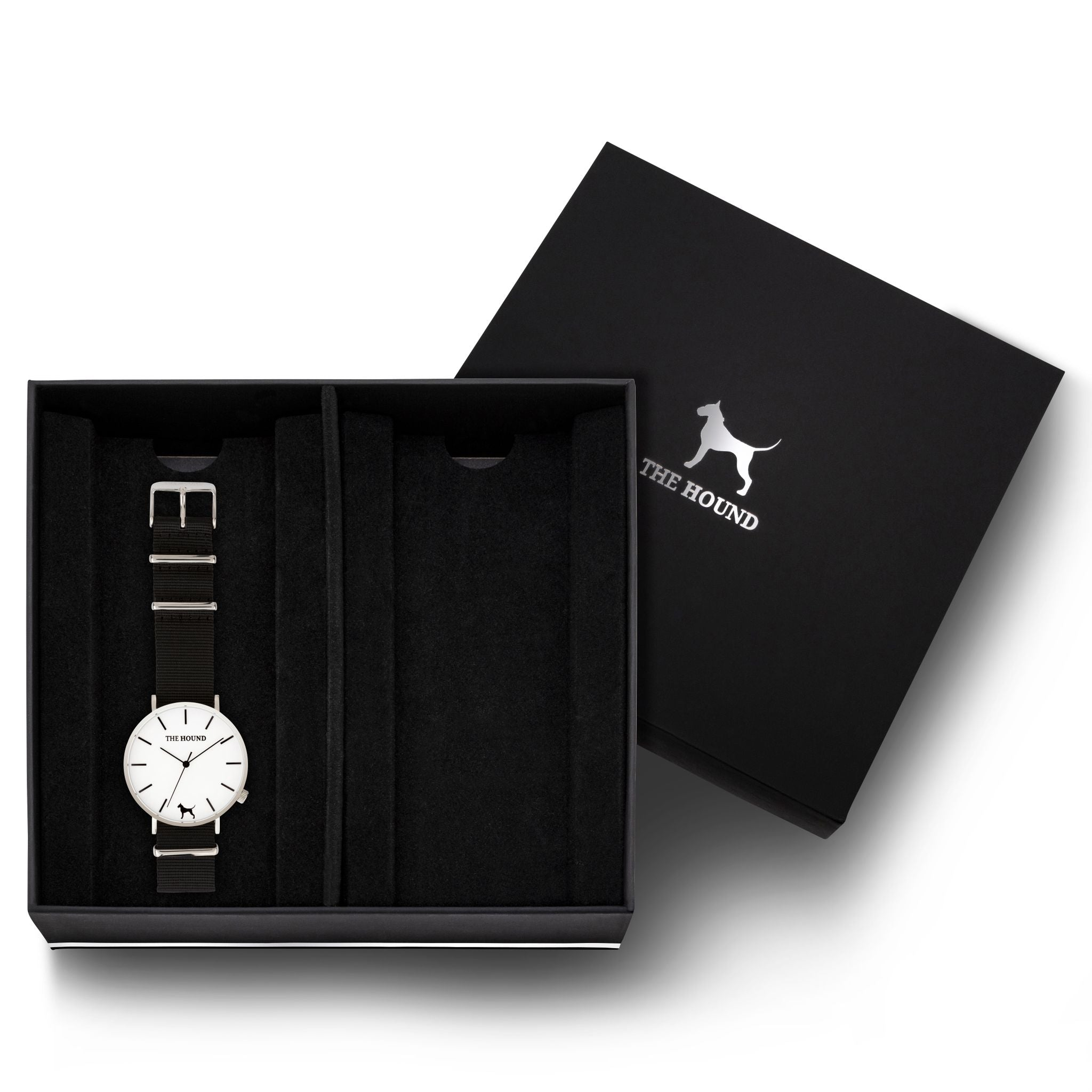Gift Set - Silver Watch with Black Nato Band