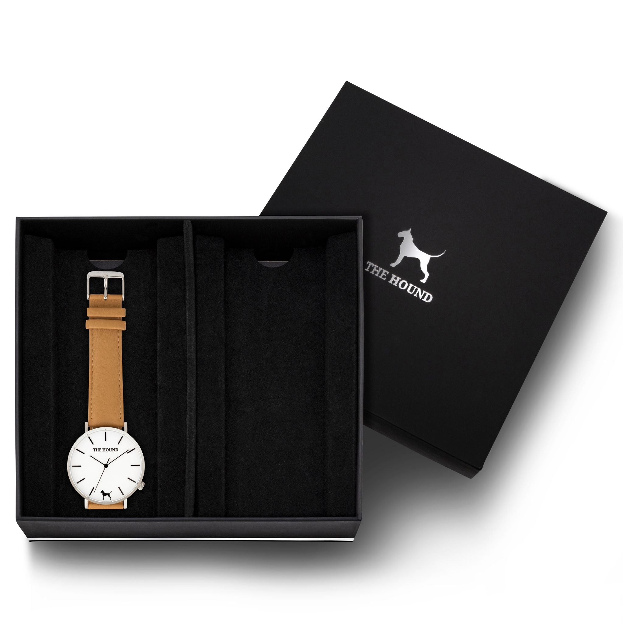 Gift Set - Silver Watch with Camel Leather Band